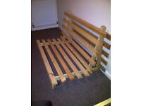 4ft6 (135cm) Double Wooden Futon (Base only Without mattress)