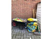 Blue Circle Mastercrete Cement bags (25kg), Wheelbarrow and Bricks