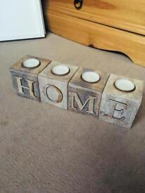 Shabby Chic wooden 'Home' tea light/candle holder set