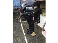15hp four stroke long shaft with control box an cables tohatsu outboard less than a year old