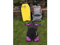 Bodyboard,bag and wet suit