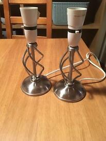 Pair of small chrome lamps