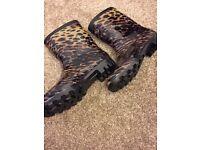 Leopard print wellies size 4