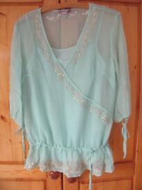 Monsoon light eau de nil (green) ¾ length sleeve silk top & under camisole. Size 12. £5 ovno for set