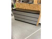 MALM Chest of 6 drawers, black-brown/grey 160x78 cm IKEA Croydon #bargaincorner