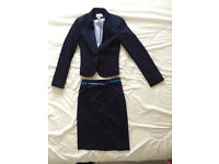 2-piece suit (jacket/blazer and skirt, H&M, like new, navy blue, size 8/34)