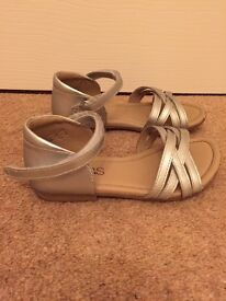 Girls M&S Silver Leather Sandals Uk12