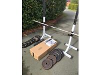 Olympic bar and weights, bench, rack