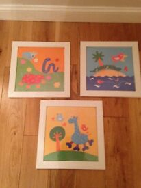 3 x 30cm kids picture frames and prints