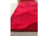 Utopia 3D floral wool rug, red