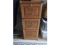 Wooden three draw file cabinet