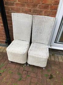 2 x rattan high back garden chairs