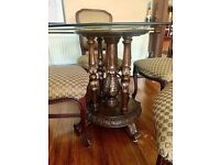 Brown & gold traditional antique glass top wood carved dining table set with chairs