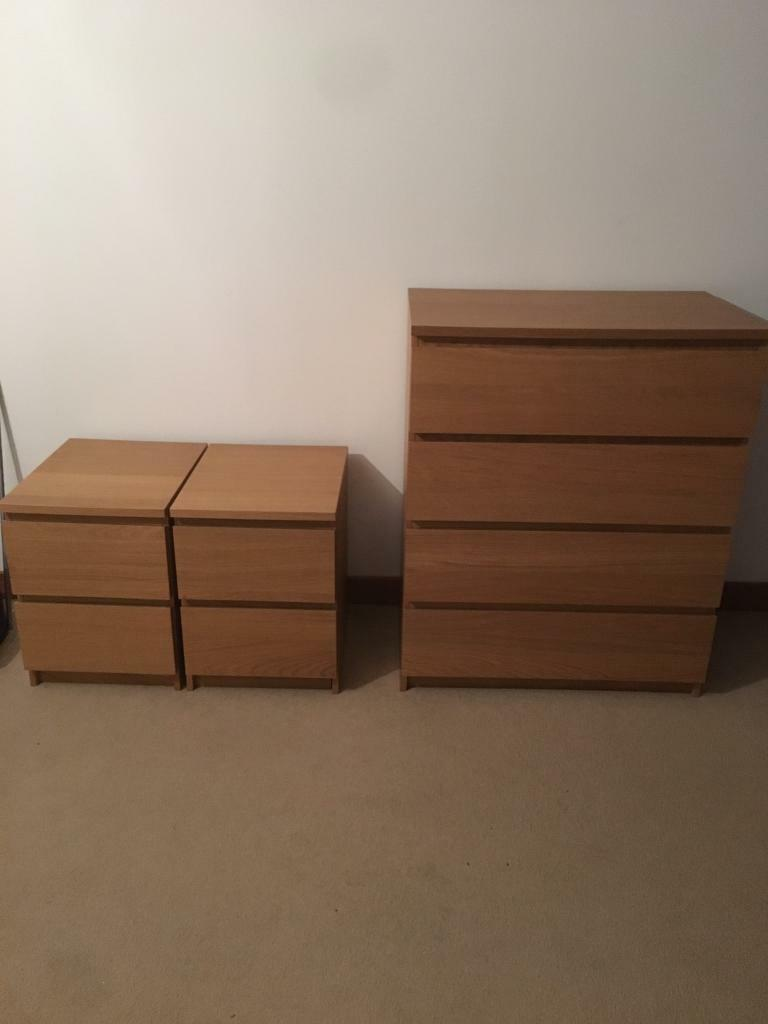 Ikea malm oak veneer chest of drawers