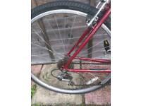 My Dark red Raleigh hybrid bike