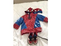 Disney Spiderman rain coat with matching shoes and hat