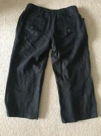 Next black Cropped Linen Maternity Trousers size 8