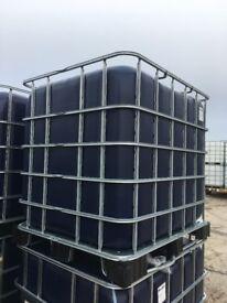 1000 Litre DARK IBC Bulk Liquid Storage Containers Tank, Good Condition