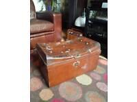 Vintage Retro Antique Metal Tin Travel Trunk Blanket box etc