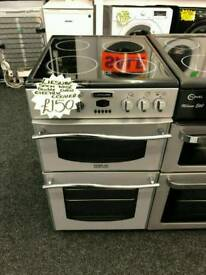 LEISURE 50CM ELECTRIC DOUBLE OVEN COOKER IN SILVER