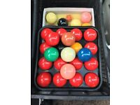 snooker balls, full size, 4 sets, with cues
