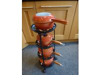 LE CREUSET VINTAGE SAUCEPAN SET IN ORANGE WITH STAND