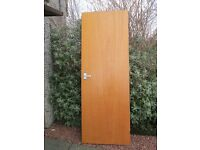 """6 internal Sapele doors, varnished plywood, 80.5"""" x 28.5"""" x 1.5"""" thick. 2 have integrated lock."""