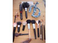 Variety of hair brushes & metal framed floral hair styler, eyelash curlers, variou