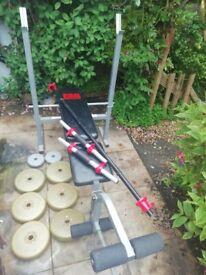 Weight bench barbell dumbbells