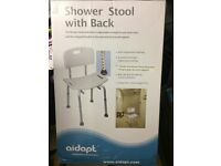Shower Stool Seat Chair with Back Adjustable Height