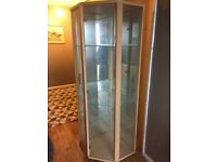 Glass and mirror wooden corner display unit
