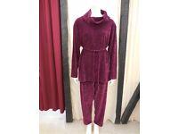 Maroon velvet leisure suit - size 18