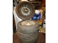 Jaguar wkeels EType whells set of 5 x wheels and Tyres