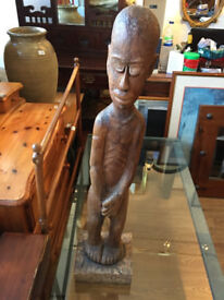 Carved Wooden Figure , lovely detailed carved figure. feel free to view Height 30 in