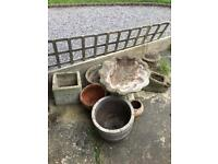 6 stone planters and bird bath guc