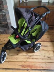 Phil &Teds double pram with accessories