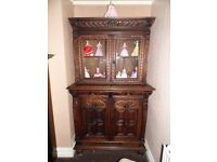 Antique Victorian 1880's Heavily Carved Oak Bookcase Dresser Still In Excellent Condition