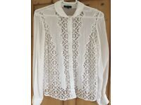 Topshop off White Lace Detail Blouse Size 8