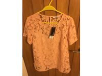 BNWT Lace Peach top with camisole by George Size 14