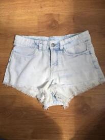 H&M Whitewash Denim Shorts