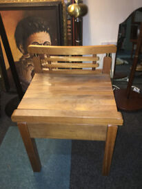 Lovely Rustic Hardwood Side Table / Bedside Table with Drawer