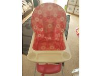 Kiddicare highchair in pink blossom