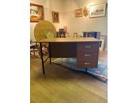Stylish Vintage retro 1970s wood office desk