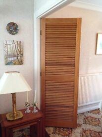 Original 1970 wooden double folding 'louvre doors