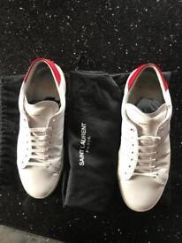 Men's white leather designer trainers