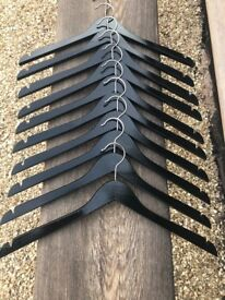 Boutique Black Gloss Wooden Coathangers - VGC - Heavy quality - Packs of 10