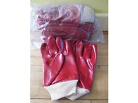 "Red PVC Coated Gloves: 11"" Gauntlet, Knitwrist Protective, Knitted Wrist Gloves / Waterproof Glove"