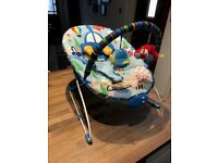 BOYS BABY BOUNCER WITH VIBRATE AND MUSIC SETTINGS