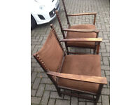 Antique Dutch His and Her Chairs in Oak,