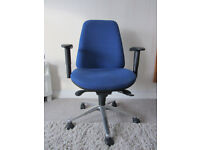 Office swivel chair, blue fabric, with armrests